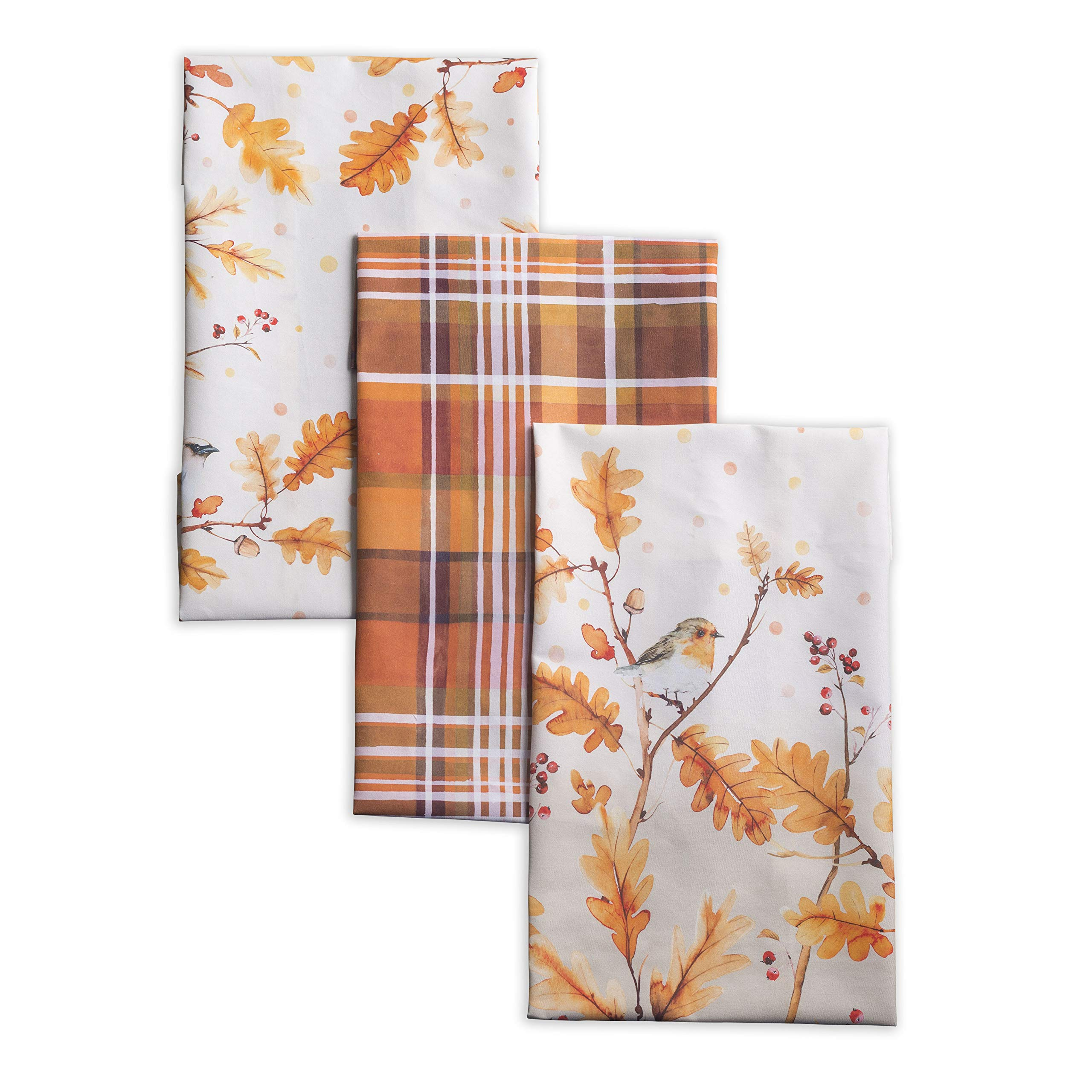 Maison d'Hermine Oak Leaves 100% Cotton Set of 3 Kitchen Towels 20 Inch by 27.5 Inch