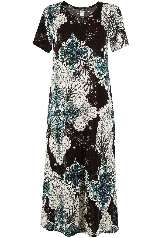 W761 Brown Jostar Women's Stretchy Long Dress Short Sleeve Print