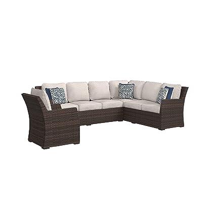 Ashley Furniture Signature Design   Salceda Outdoor 3 Piece Sectional Set    Sofa Sectional U0026