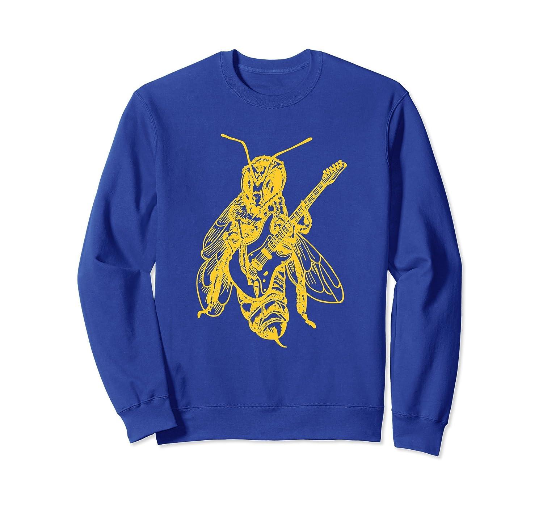 SEEMBO Bee Playing Guitar Sweatshirt Guitarist Gift Musician-AZP