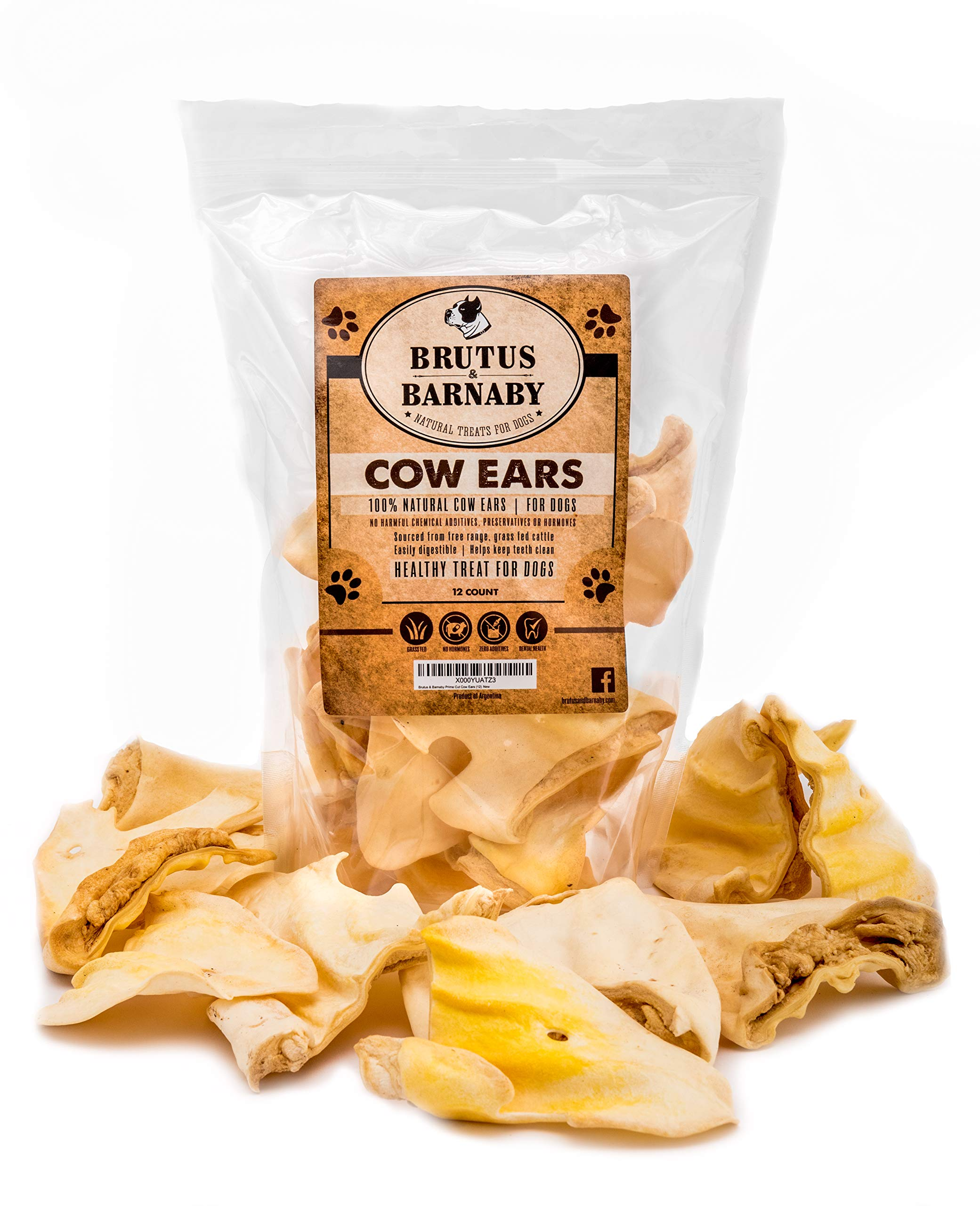Brutus & Barnaby All Natural, Whole Cow Ears for Dogs, Harvested from Free Range, No Hormone's Added, Grass Fed Cattle, USDA/FDA Approved (100)