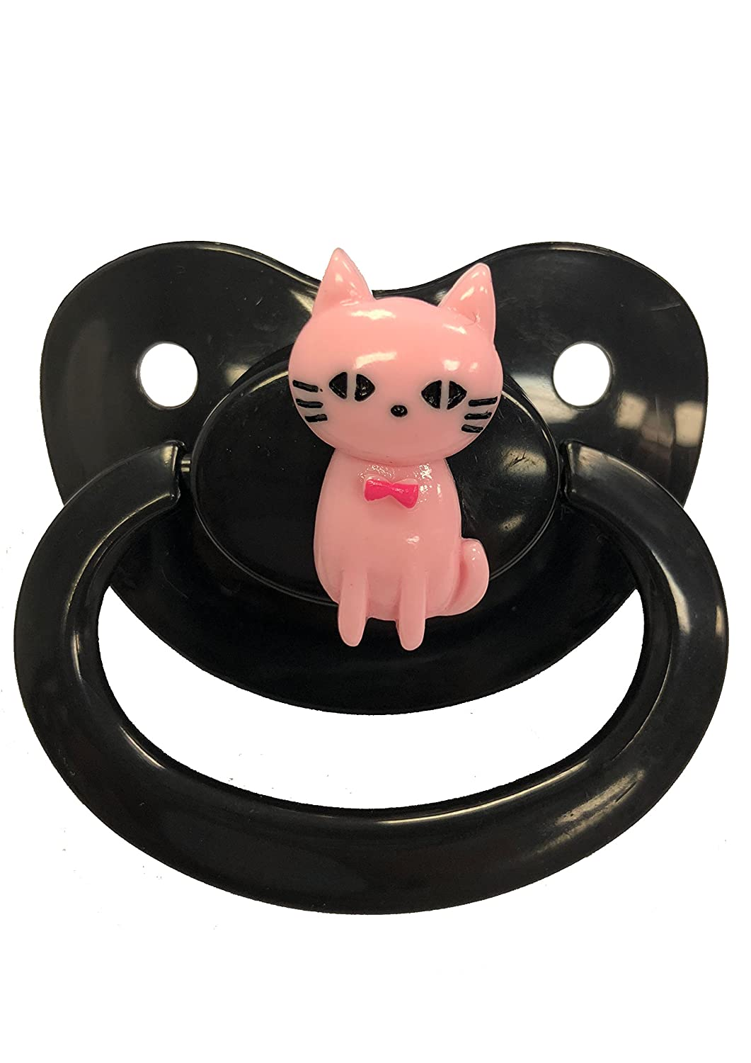Envy Body Shop Adult Sized Cute Gem Pacifier Dummy For Adult Baby Abdl/Ddlg Big Shield (Pussy Cat, Pink Cat/Black Paci) by Envy Body Shop