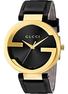 Gucci Swiss Quartz Gold-Tone and Leather Dress Black Mens Watch(Model: YA133212