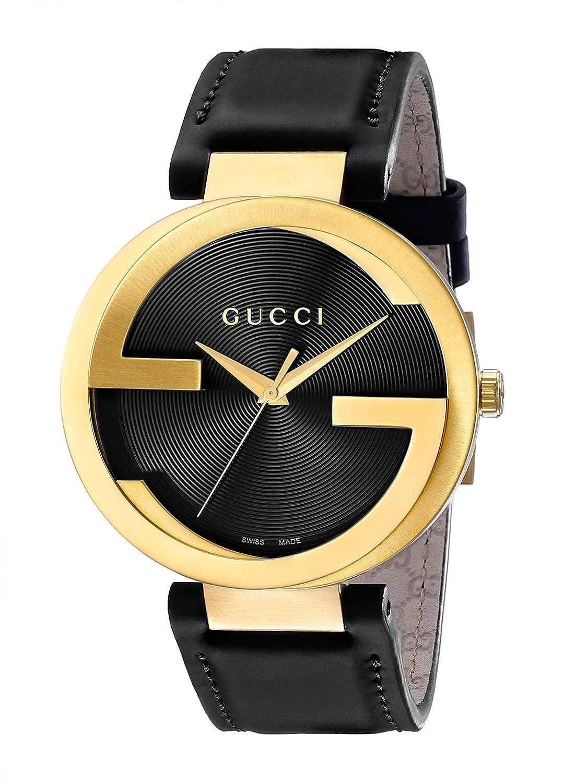 105a07af188 Amazon.com  Gucci Swiss Quartz Gold-Tone and Leather Dress Black Men s Watch(Model   YA133212)  Watches
