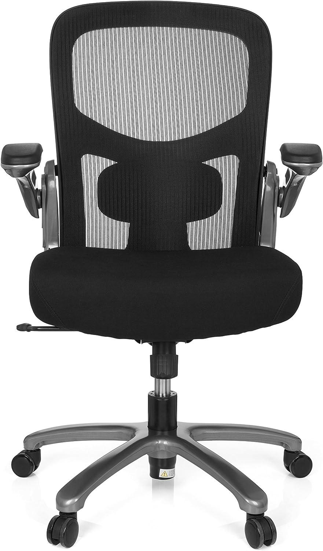 hjh OFFICE 736120 silla alta resistencia INSTRUCTOR T titanio malla/tela negro silla XXL ergonómica reposabrazos plegables