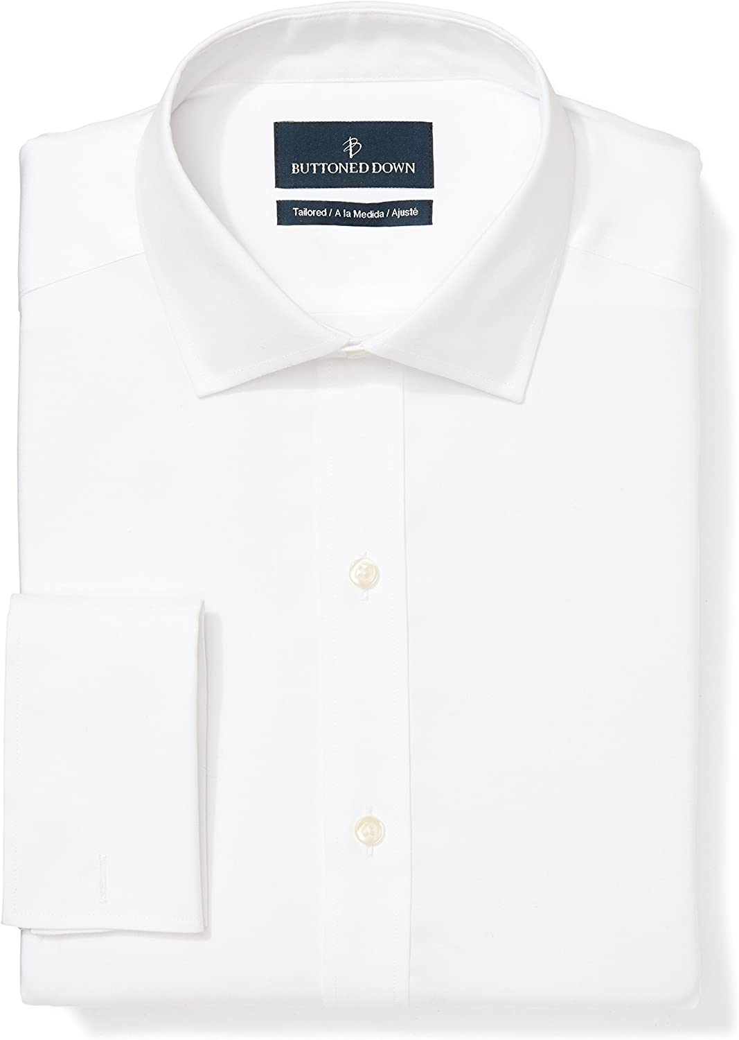Amazon Brand - BUTTONED DOWN Men's Tailored Fit French Cuff Dress Shirt, Supima Cotton Non-Iron, Spread-Collar