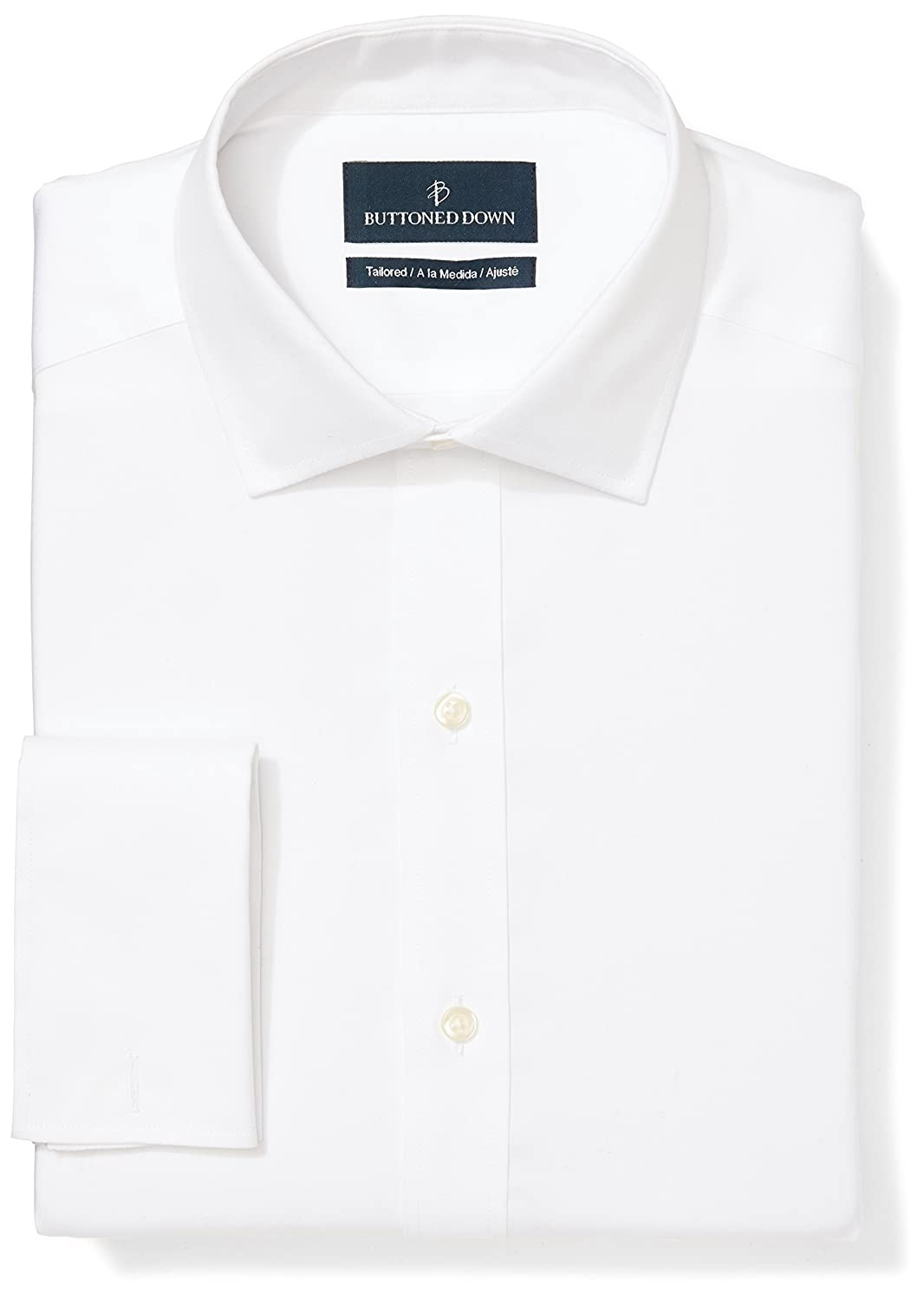 BUTTONED DOWN Men's Tailored Fit French Cuff Non-Iron Dress Shirt MBD30025