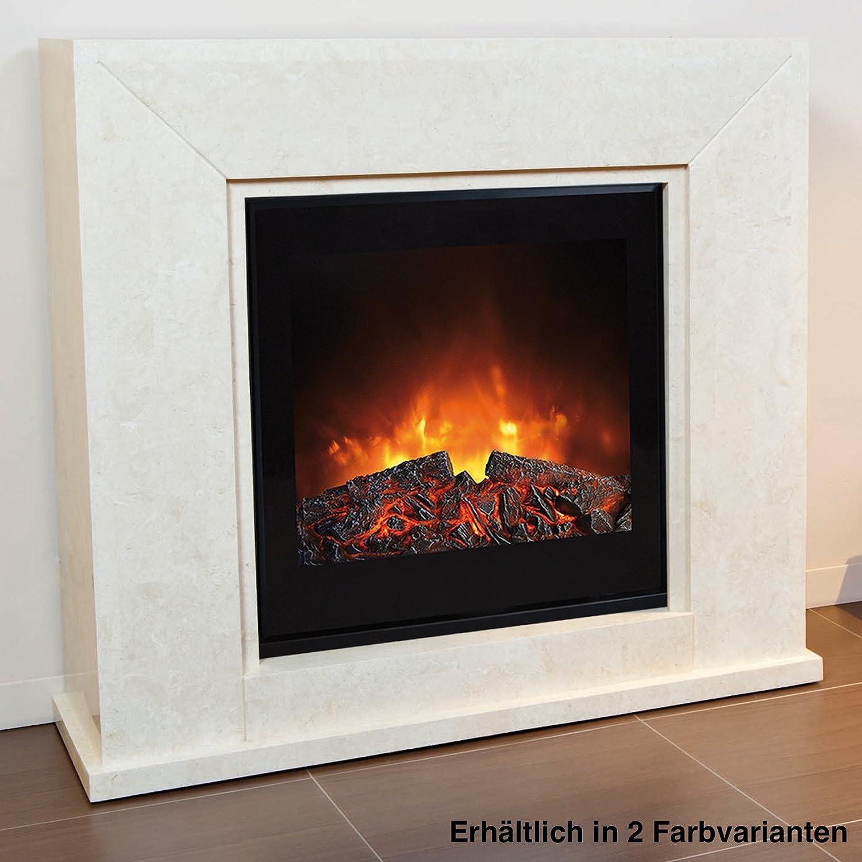 Rubyfires Elektrokamin Kaminfeuer Kaminumbau Nero inkl Top Flame TF1570G Fossil Stone schwarz poliert