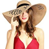 Double Couple Womens Sun Hat Foldable Floppy Travel Packable UV Summer Beach Straw Hats UPF50