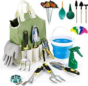 amzdeal Gardening Tool Kits 34Pieces Heavy Duty Aluminum Garden Tools Set Indoor and Outdoor Hand Planting Gardening Kits Gardening Gifts Tools with Ergonomic Handle