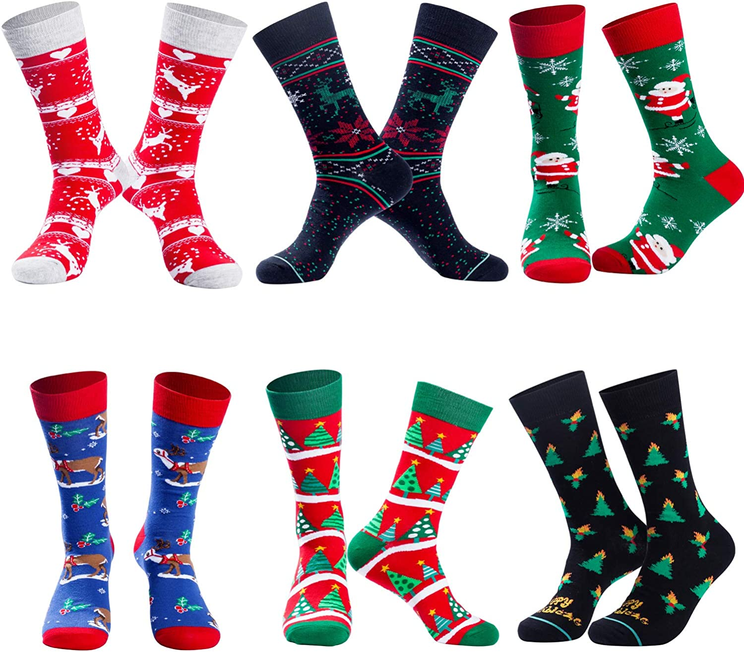 Mens Funny Socks Christmas Socks for Men Women Colorful Fun Novelty Crew Patterned Socks 6 Pairs US 7-13