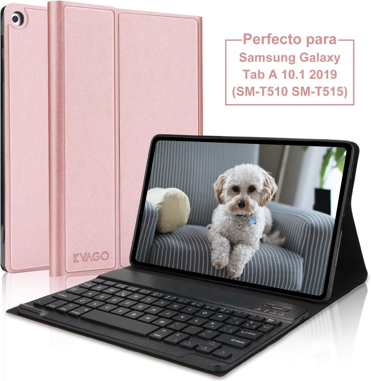 KVAGO Funda con Teclado Español Ñ para Samsung Galaxy Tab A 10.1 2019 con Teclado Bluetooth Inalámbrico,Slim PU Protectora Carcasa Cover para Samsung Tab A 10.1 T510/T515 2019, Oro Rosa