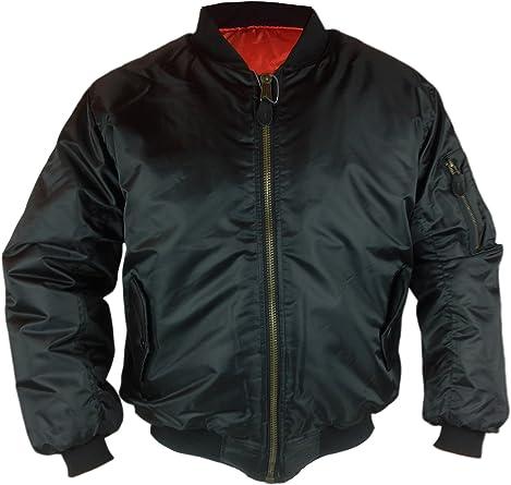 Mens MA-1 Heavy Reversible Flight Bomber Security Pilot Jacket Size BLACK OLIVE
