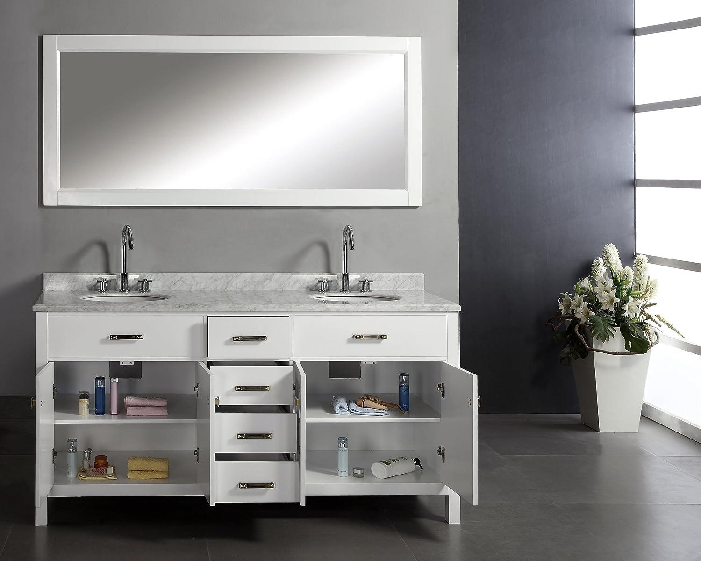 Virtu USA MD 2072 WMRO WH Caroline 72 Inch Double Sink Bathroom Vanity With  Italian White Carrera Marble Countertop And Mirror, White Finish      Amazon.com