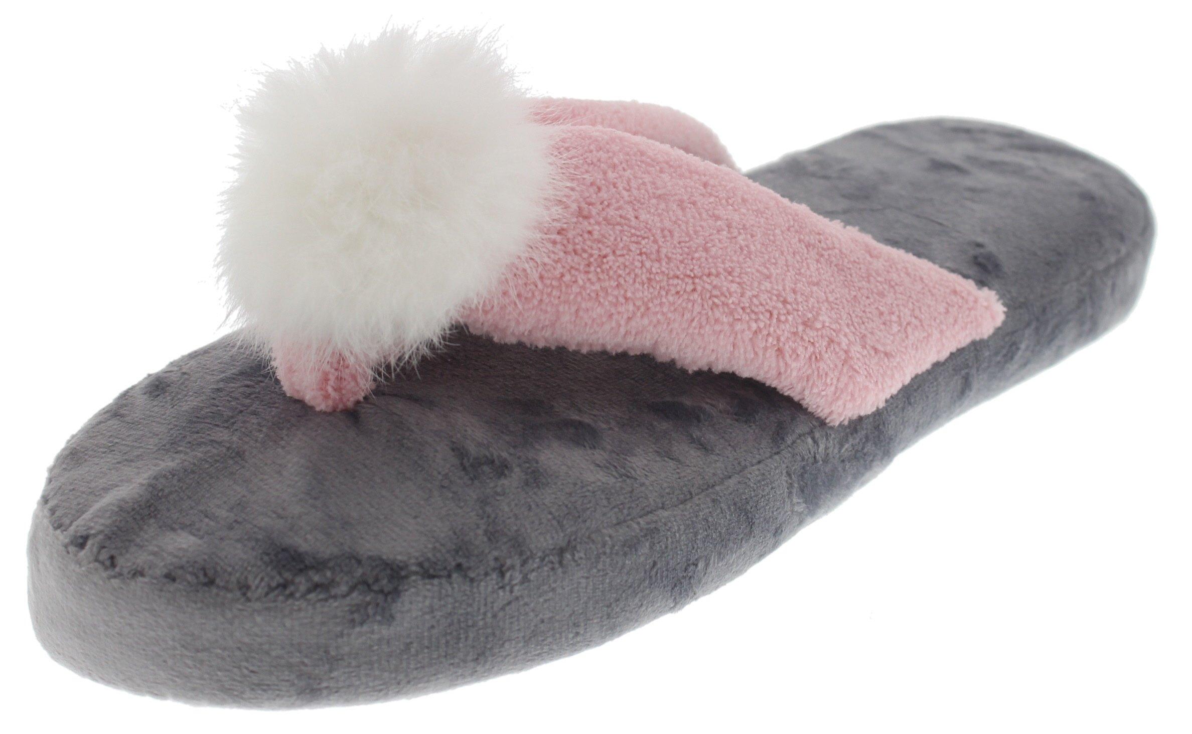 Violet & Virtue Women's Plush Pom-Pom Flip-Flop Slipper (Large 9-10, Pink & Grey)