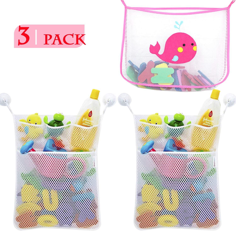 NEPAK 3 Pcs Red de Baño Almacenamiento Bolsa de Juguete + 6 Piezas Ganchos,Almacenamiento de Juguetes Baño para Bebés, Toy Storage Net para Baby Bath Toys y más