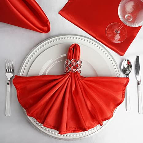 - Apple red 12 Inch Square Dinner Napkin or Satin Cloth Napkins for Wedding Tableware Decoration Pack of 12 VDS