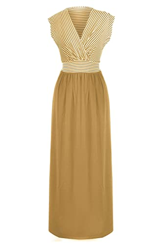 G2 Chic Women's Basic Casual Lounge Spring Summer Maxi Dress(DRS-MAX,BEG-3X)