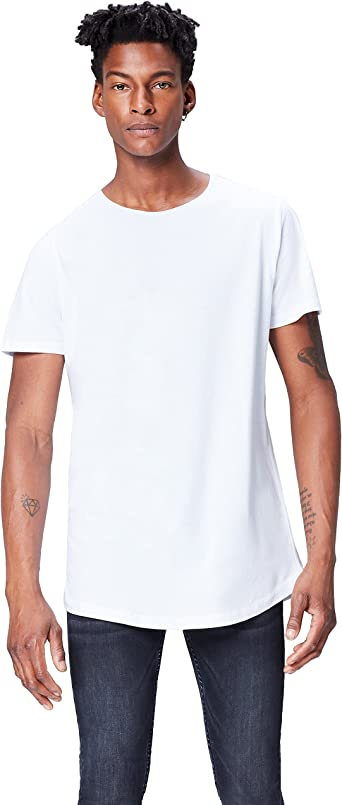 Marca Amazon - find. Camiseta Lisa para Hombre, Blanco (White), L ...