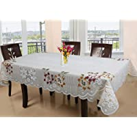 Kuber Industries Floral Cotton 6 Seater Dinning Table Cover - Cream