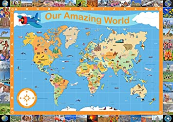 Our amazing world map childrens illustrated map of the world our amazing world map childrens illustrated map of the world educational classroom teaching resource gumiabroncs Images