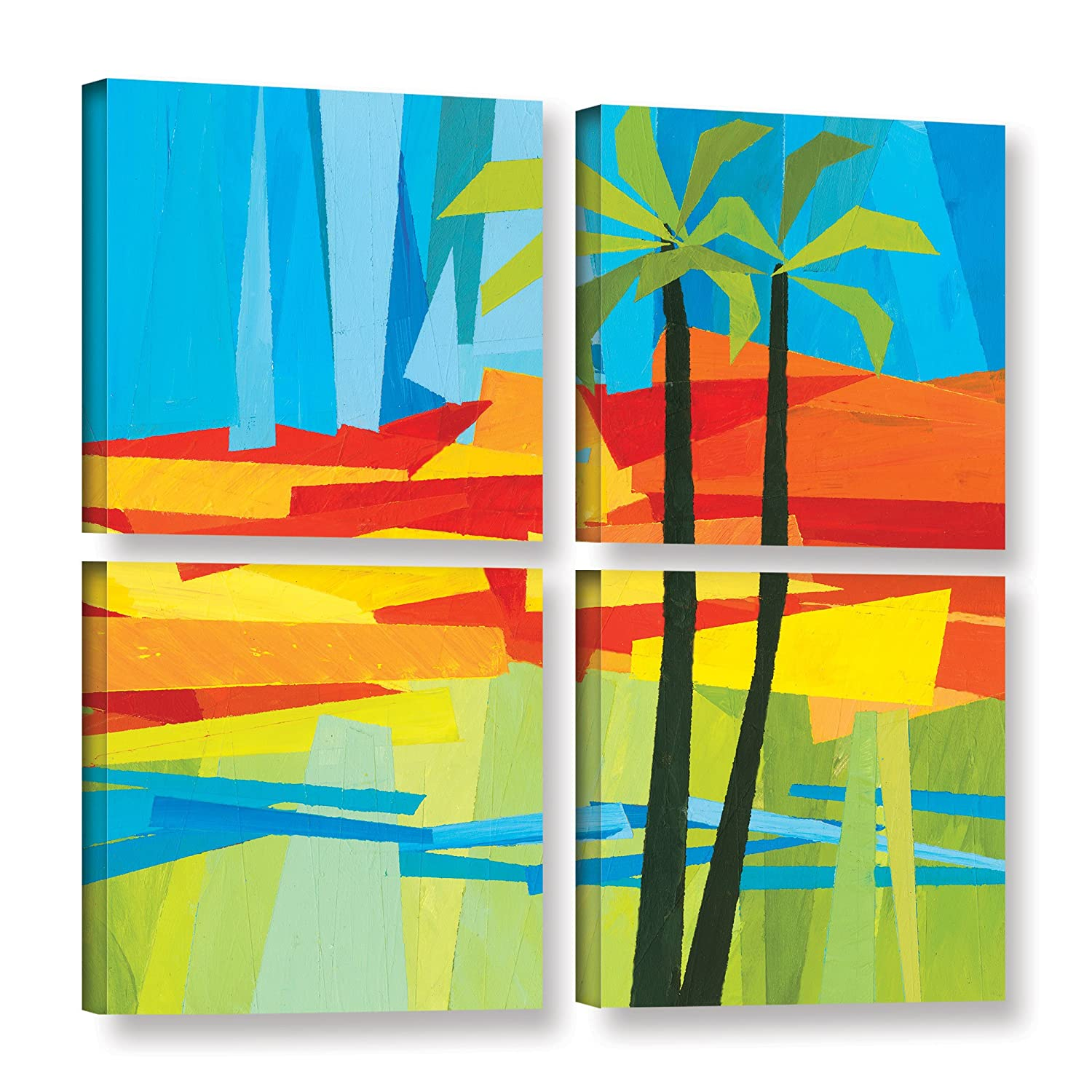 ArtWall Jan Weisss Two Palms 4 Piece Gallery Wrapped Canvas Square Set 36X36