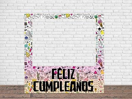 Photocall Feliz Cumpleaños Eventos o Celebraciones puntuales | Medidas 1,00 mx 1,00 m | Ventanas Troqueladas | Photocall Divertido | Atrezzos