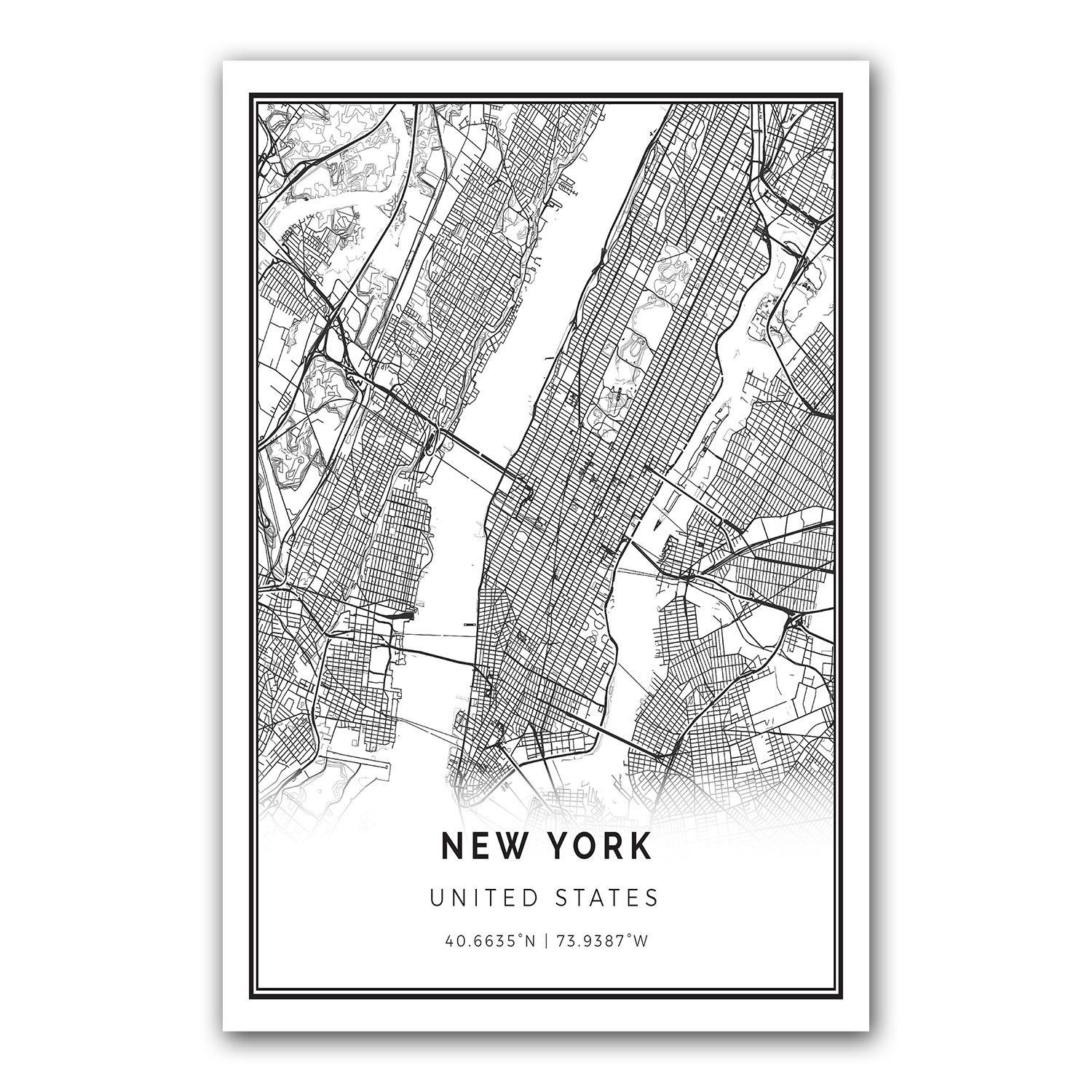 Amazon.com: New York map poster print | Modern black and ...