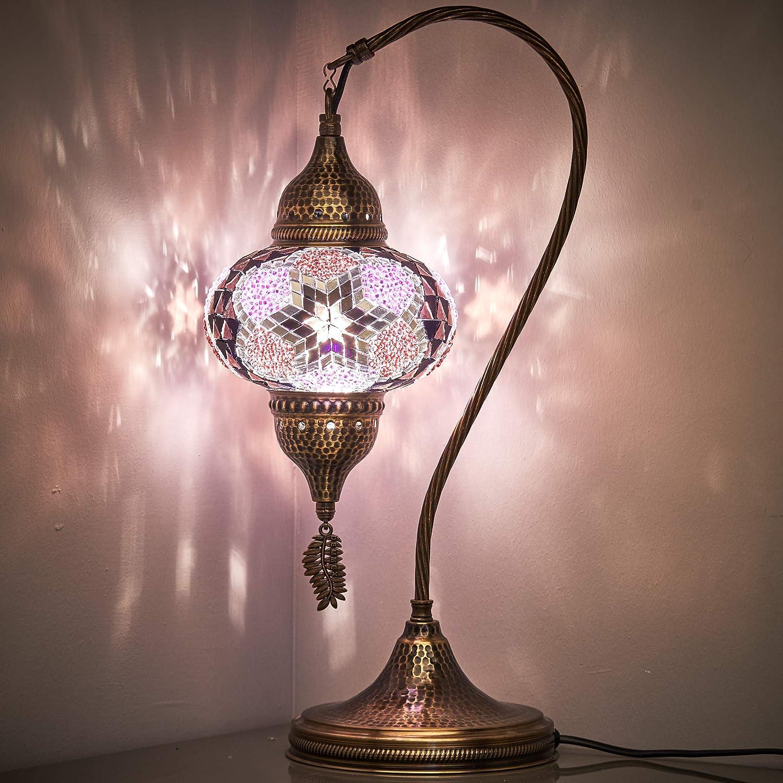 New BOSPHORUS Stunning Handmade Turkish Moroccan Mosaic Glass Table Desk Bedside Lamp Light with Bronze Base Purple