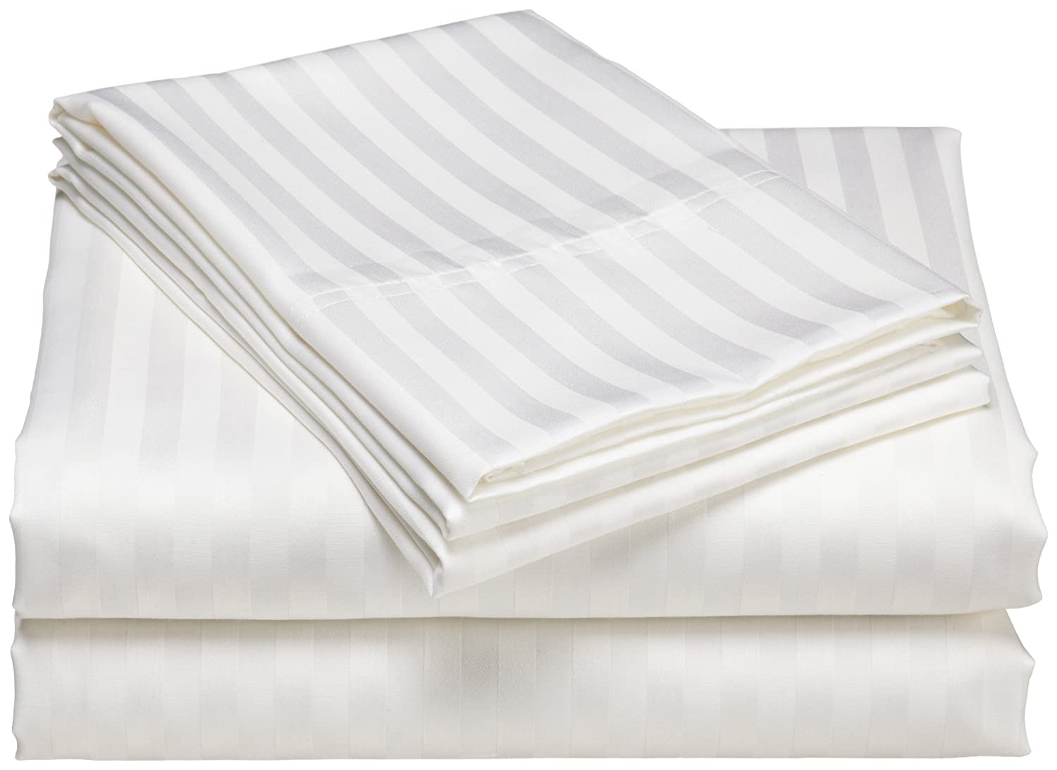 Elite Home Wrinkle-Resistant 300-Thread-Count Woven Stripe Cotton Sheet Set
