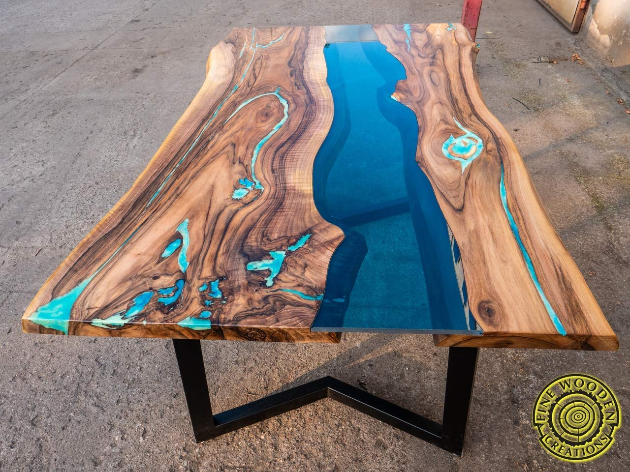Amazon.com: Live edge river dining table with turquoise glowing ...