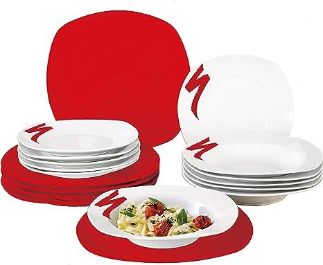 borella piatti  Borella Casalinghi Lido Servizio Piatti Quadrato, Ceramica, Rosso ...