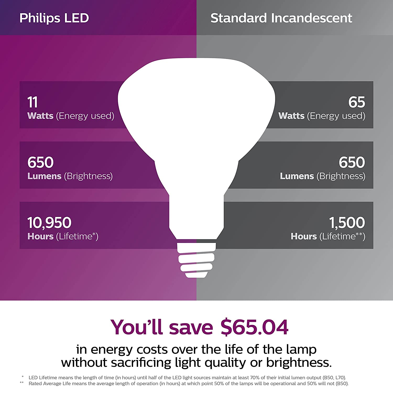 Philips LED Dimmable BR30 Light Bulb: 650-Lumen, 5000-Kelvin, 8-Watt (65-Watt Equivalent), E26, Frosted, Daylight, 6-Pack (California Residents Only) ...