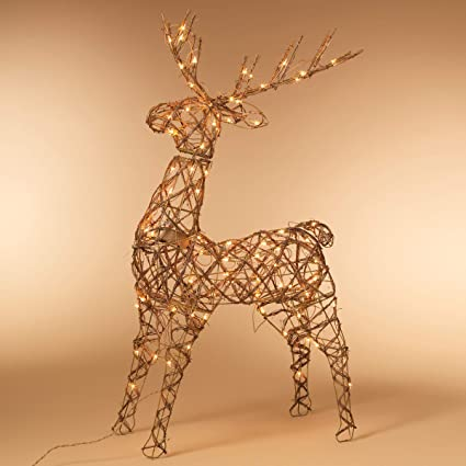 48 animated standing buck reindeer lighted christmas yard art decoration clear lights - Animated Lighted Reindeer Christmas Decoration