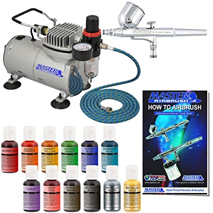 Pro Master Airbrush Cake Decorating Airbrushing System Kit with a 12 Color  Chefmaster Food Coloring Set - G22 Gravity Feed Airbrush, Air Compressor,