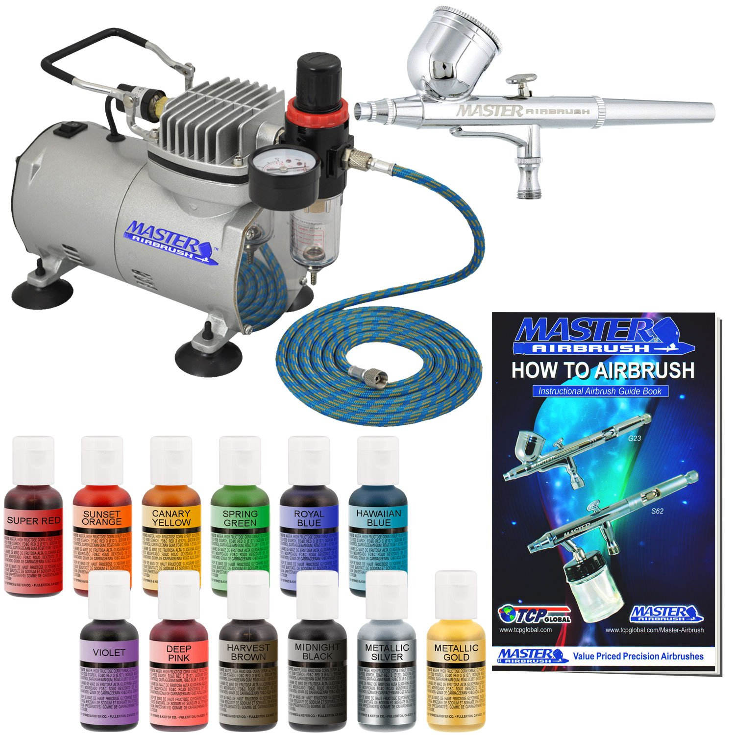 Pro Master Airbrush Cake Decorating Airbrushing System Kit with a 12 Color Chefmaster Food Coloring Set - G22 Gravity Feed Airbrush, Air Compressor, Guide Booklet - Decorate Cakes, Cupcakes, Cookies