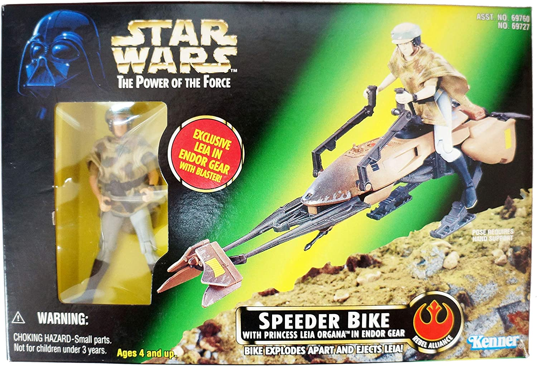 STAR WARS Power Of The Force speeder bike Princess Leia 1997 New in Box