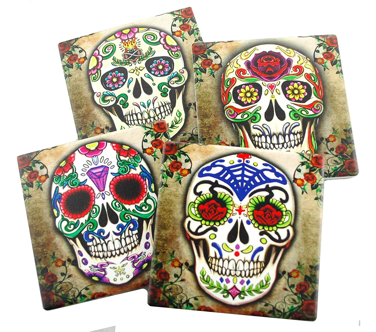 Sugar Skull Bathroom Decor Amazoncom Sugar Skull Spirit Coaster Set Of 4 Coasters