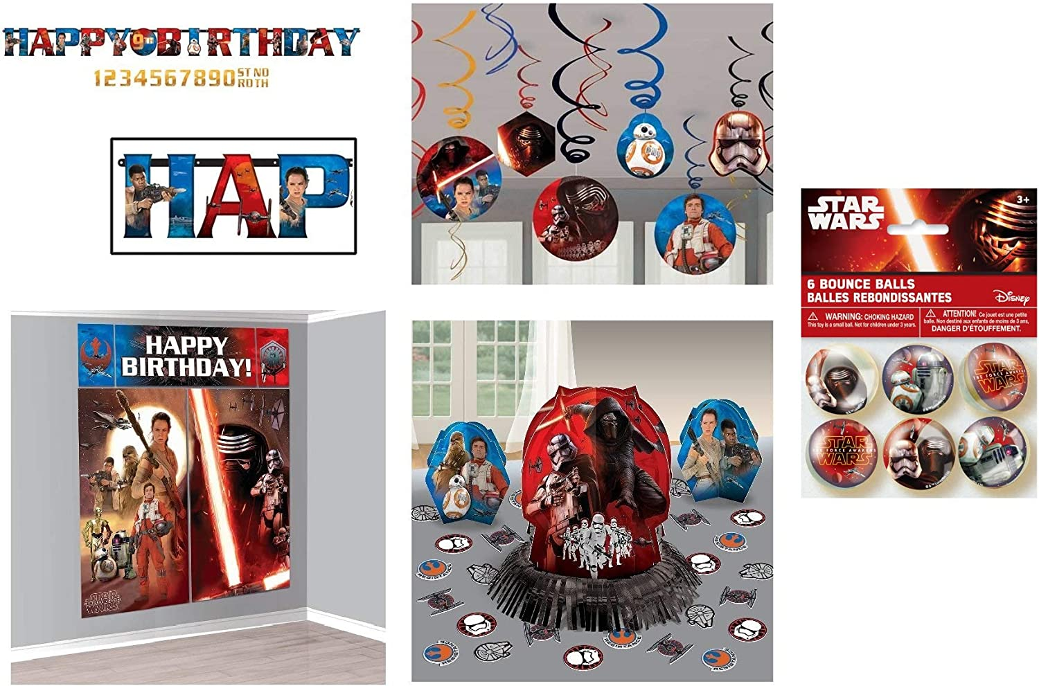 Star Wars Birthday Party Decoration Bundle includes Banner, Wall Poster Scene Setter, Swirl Decoration, Table Decor Kit