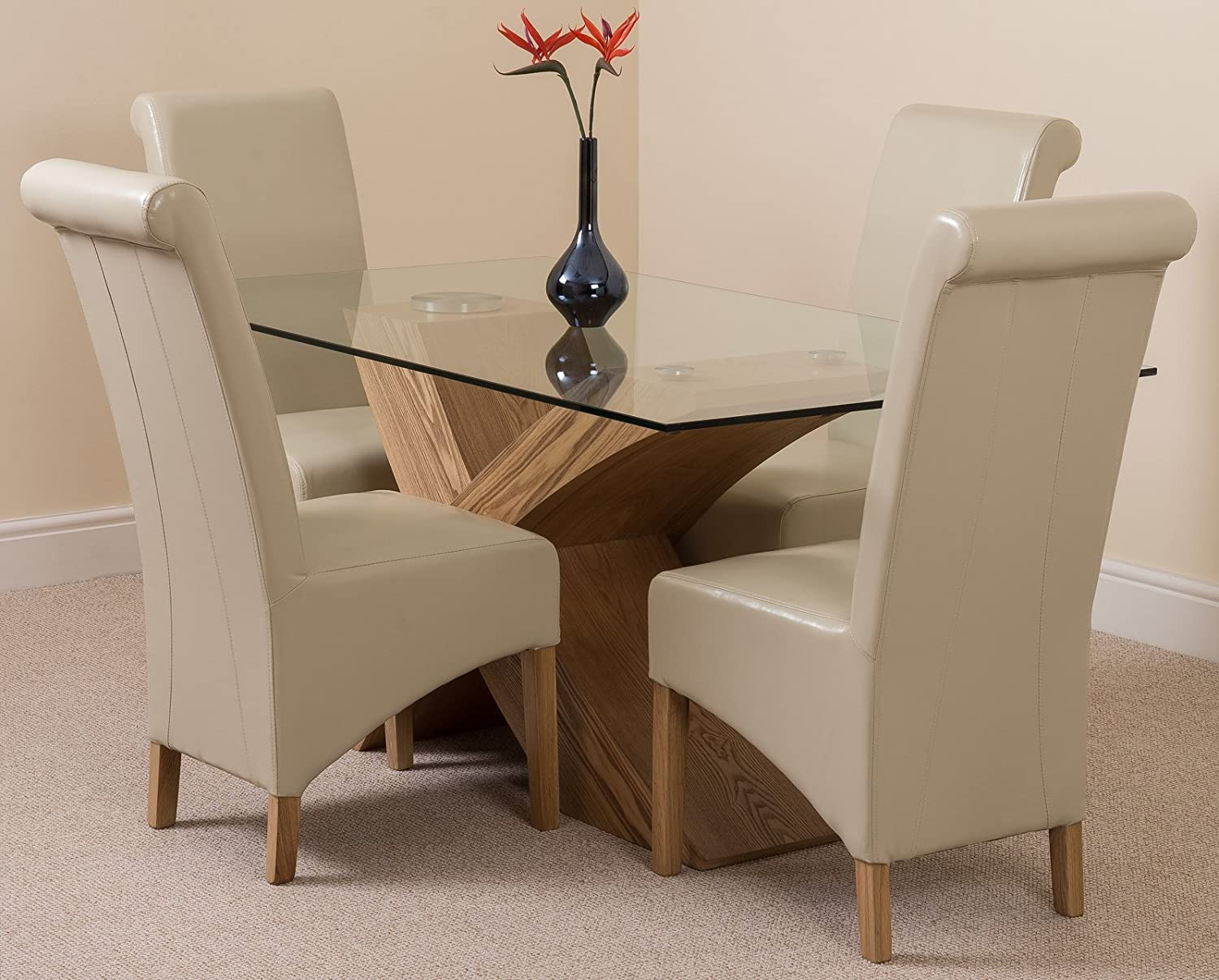 VALENCIA OAK SMALL 160cm x 90cm GLASS DINING TABLE WITH 4 OR 6