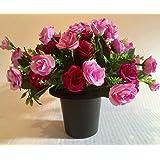 Artificial Silk Small Pink Rose Flower Grave Memorial Crematorium pot