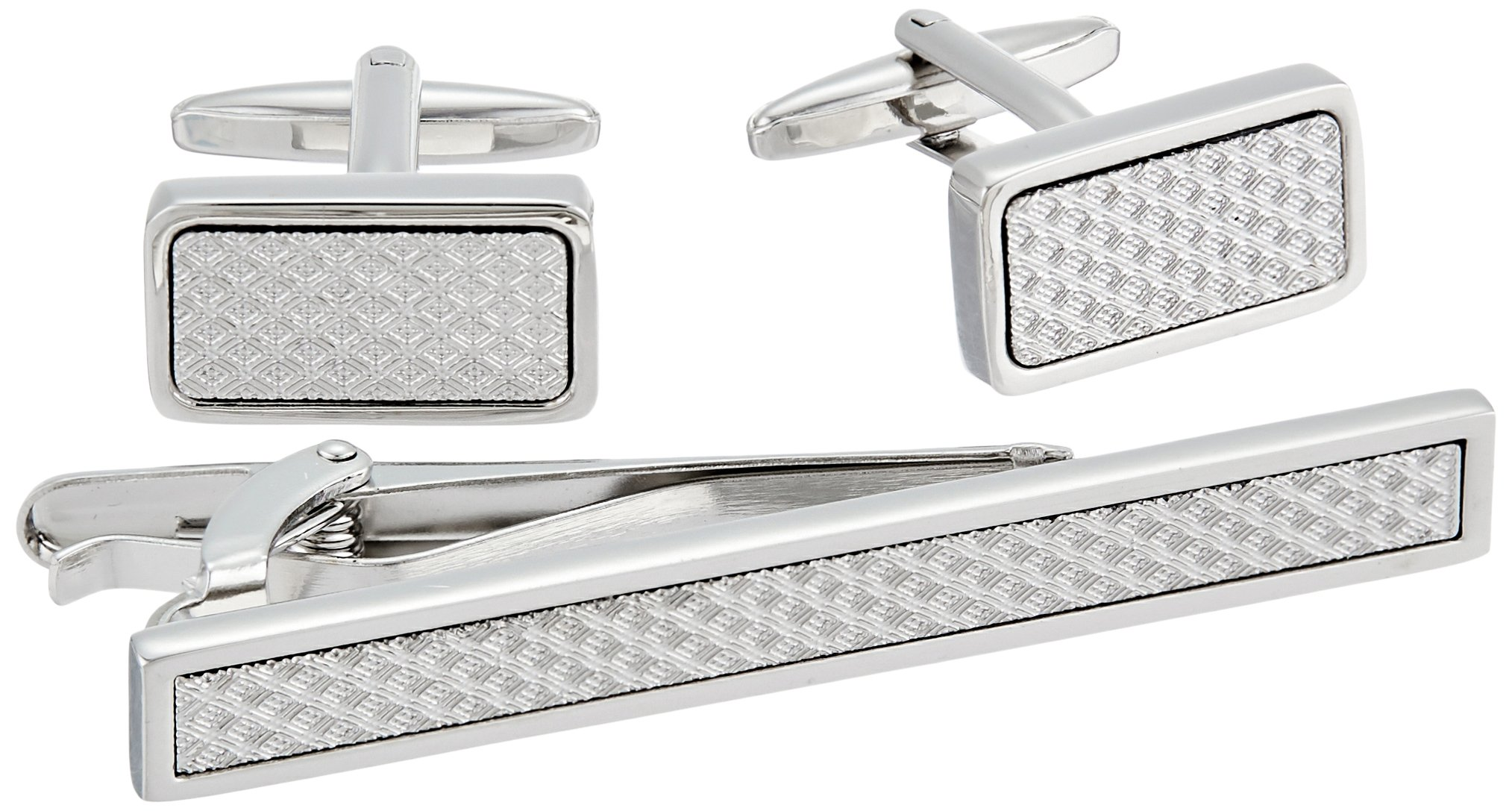 Stacy Adams Men's Silver with Textured Inlay Cuff Link and Tie Bar Set, One Size