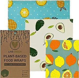 Live Green Plant Based Vegan Food Wraps – Reusable Food Wrap – Eco-Friendly Cotton Food Wraps – Organic Zero Waste Soy Wax Kitchen Wrap – Sustainable Food Storage Alternative – 3 Pieces per Pack