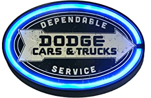 New and Improved with Wall Plug and 6' Cord! Dodge Cars and Trucks Dependable Service LED Sign, 16 Oval Shaped Sign, LED Light Rope That Looks Like Neon, Wall Decor for Man Cave, Garage, Bar