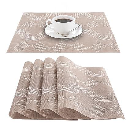 Deconovo PVC Placemats Stain Resistant Placemats Washable PVC Table Mats  For Kitchen Table Beige Set Of