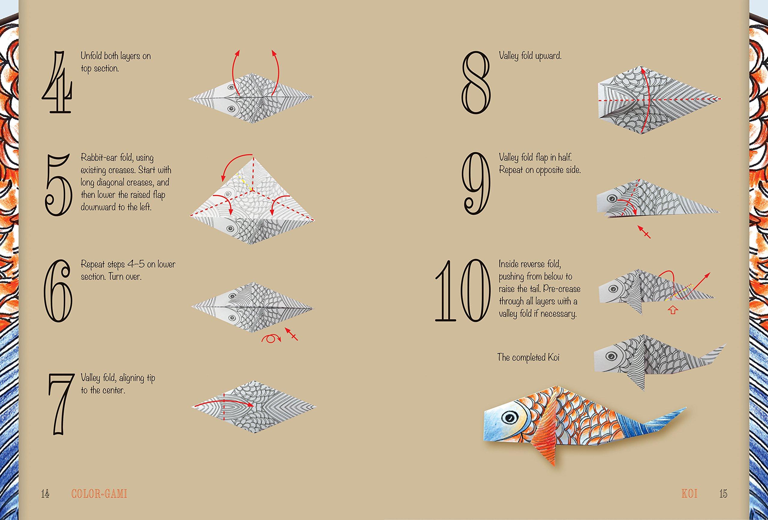Color Gami Mass Market Origami Books Koi Diagram Masao Donahue 9781626868076