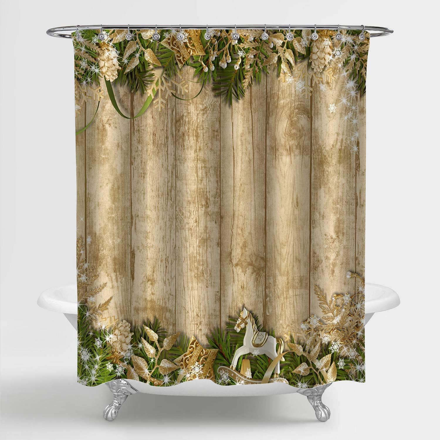 """MitoVilla Rustic Christmas Shower Curtain for Gold Home Decor, Magic Christmas Garland on a Antique Wooden Plank Bathroom Decorations, for Kids, Teens, Women and Girls, Gold, 72"""" x 72"""""""