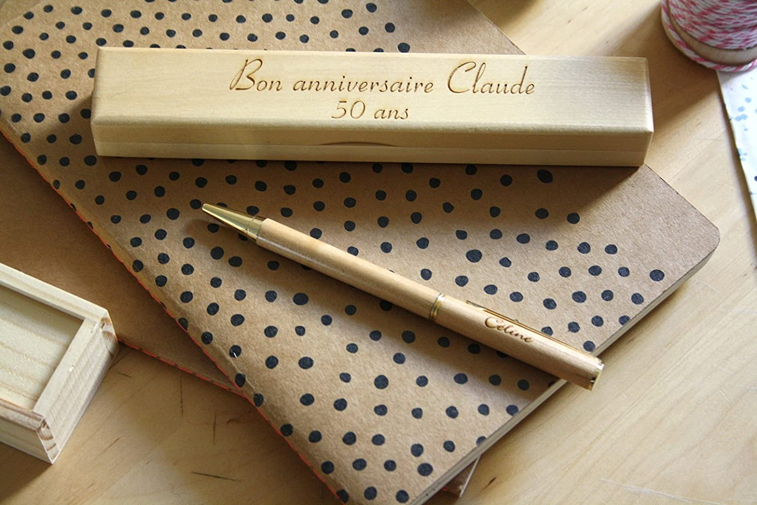 Custom pen with wooden box, text, name engraved, personalized gift, Wedding, birthday retirement unique gift