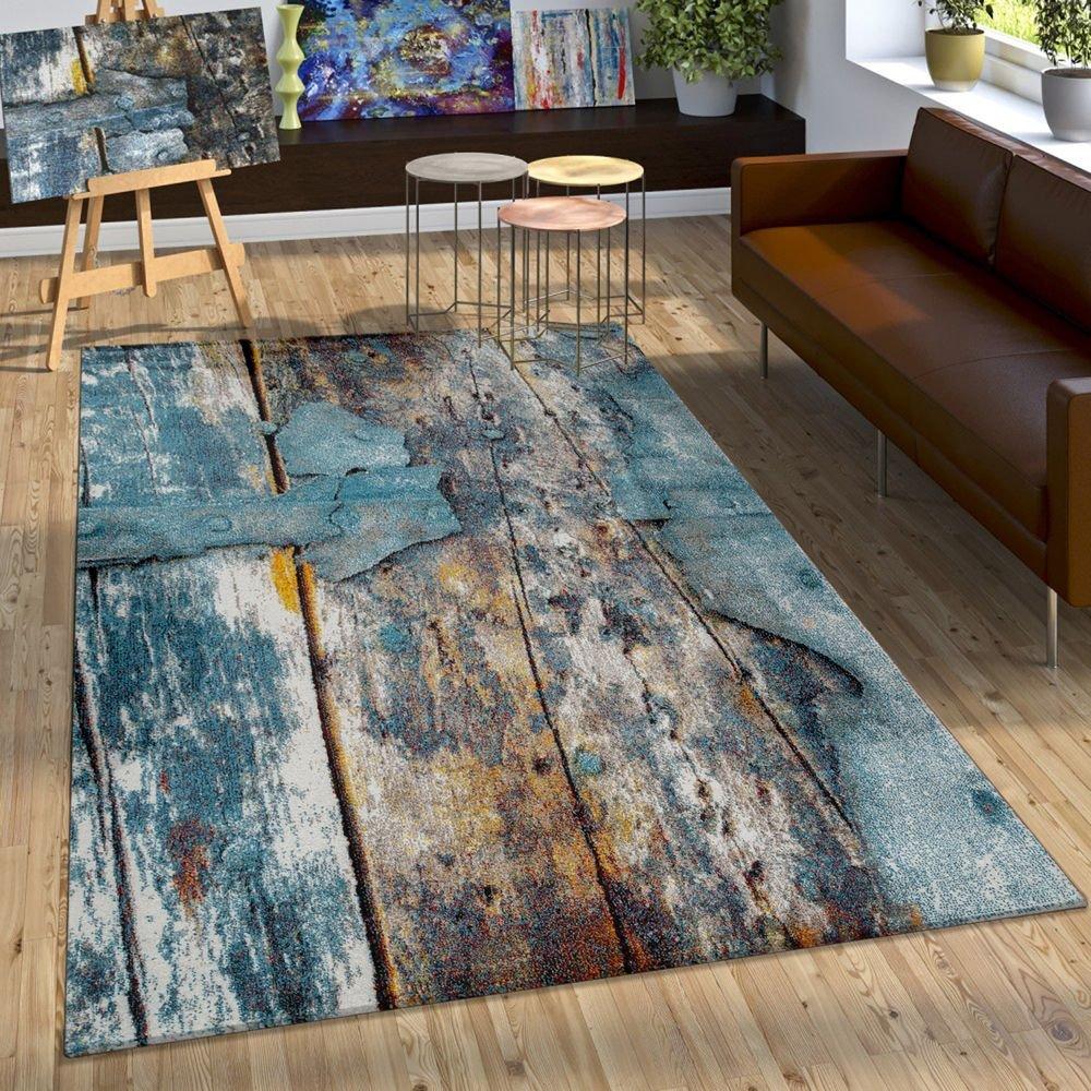 Paco Home Designer Teppich Bunte Holz Optik Optik Optik Hoch Tief Optik In Türkis Gelb Grau Meliert, Grösse 120x170 cm faf7d2