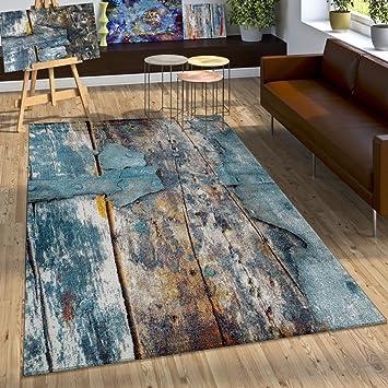 Paco Home Designer Teppich Bunte Holz Optik Hoch Tief Optik In Türkis Gelb  Grau Meliert,